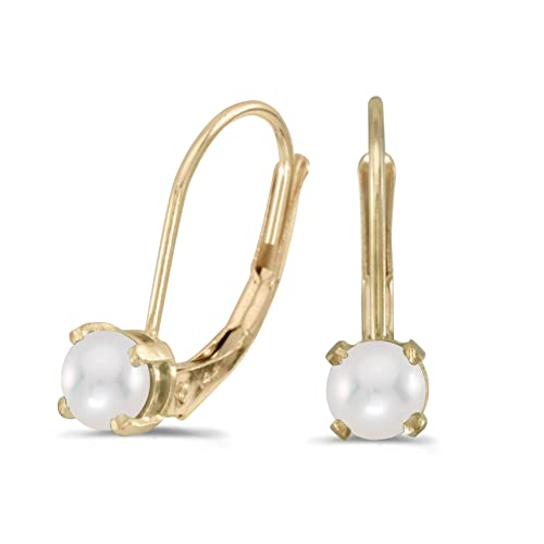 14k Yellow Gold Freshwater Cultured Pearl Lever-back Earrings