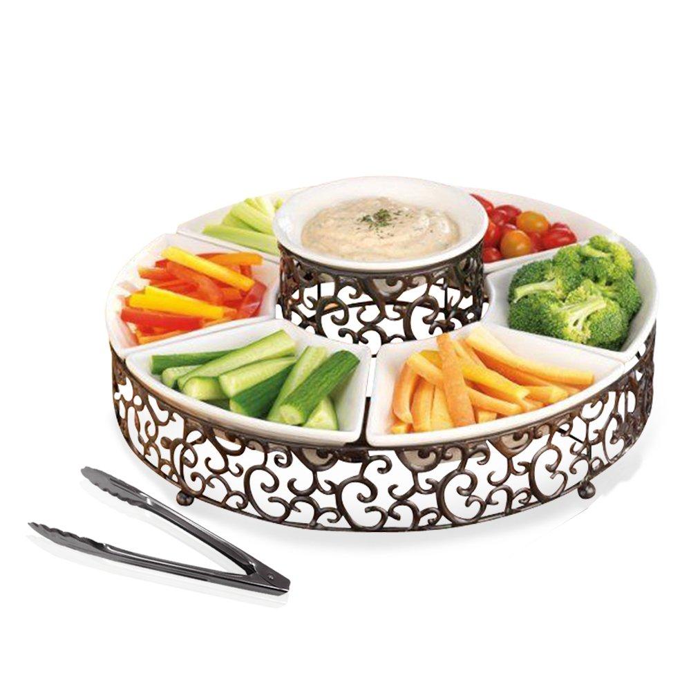 エレガントな7セクションChips and Dip Serving Platter、セラミック、押さメタルParty Centerpieceアペタイザーforサラダ、バー、Divided Serving Dish with Serving Tong   B01N0Z70NL