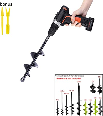 "9/"" Garden Auger Digging Spiral Drill Bit For Planting Bulbs Seedling Planter 1 X"