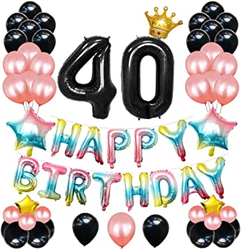 Amazon.com: DreamJ – 40 cumpleaños decoraciones, 54 piezas ...
