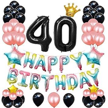 Amycute 67 pcs Decoracion Cumpleaños de 40 Años, Globos ...