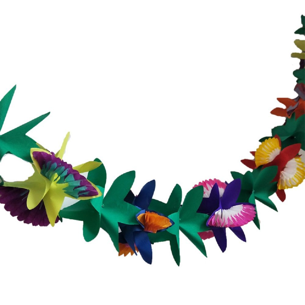 1 Piece 9 Feet Tropical Colorful Paper Tissue Garland Flower Banner