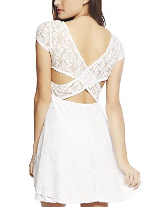 Wet Seal Women s Cross Back Lace Skater Dress XS White at Amazon ... 7e2a76f61