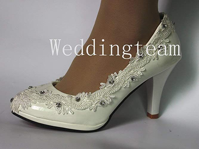 bc6bc06894 Sweet women white ivory pearl lace crystal Wedding shoes Bridal heels pumps  size 5-10