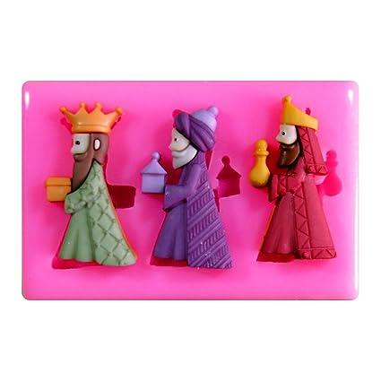 Tres Reyes Magos Natividad Navidad Molde de silicona para la torta de Decoración Pastel de Cupcake