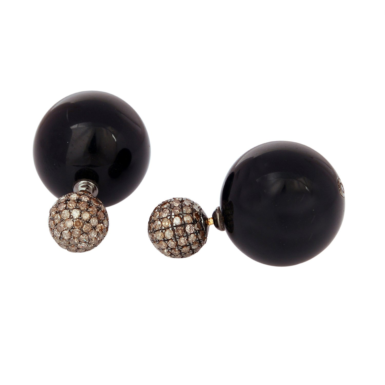 Black Onyx Pave Diamond Double Ball Earrings Tunnel Jewelry 18K Gold & Sterling Silver