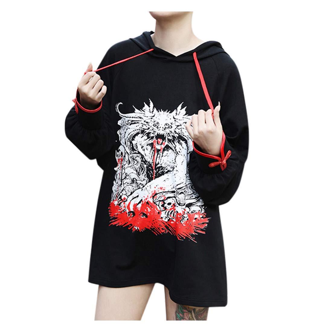 Black Gothic Hoodie Women Punk Dark Style Dragon Printed Long Sleeve Casual Loose Autumn Hooded Sweatshirts by Letdown_Women Hoodies