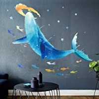 Peel Y Stick PVC Wall Sticker, A Prueba De Agua Wallpaper Extraíble Ballena Bajo El Mar Pared Mural Dormitorio Sala De Estar TV Pared Decoración Pared Calcomanía