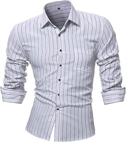 HhGold Camisa Negra para Hombre a Rayas Top Casual Slim Fit ...