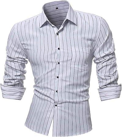 HhGold Camisa Negra para Hombre a Rayas Top Casual Slim Fit con puño Manga Larga Color Trabajo Formal Cuello en V Botón Poliéster Reino Unido Venta Pullover Blusa XXL XXXL XXXXL: Amazon.es: