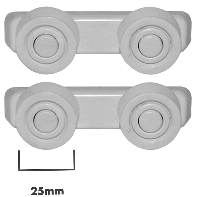 SPARES2GO Basket Drawer Runner Rail Support Wheels & Brackets for Currys Essentials Dishwasher (25mm, 4 Sets)