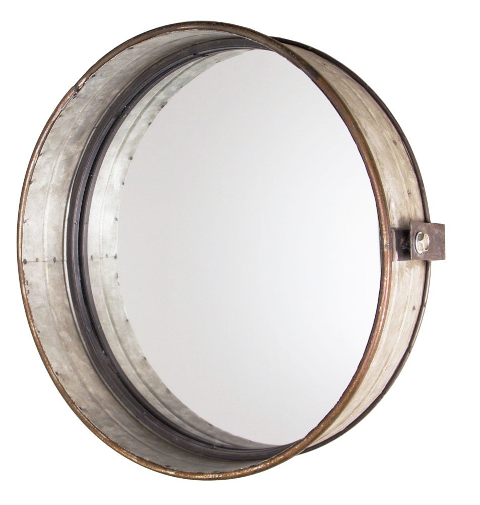 Park Hill Rustic Galvanized Metal Drum Mirror, 16''
