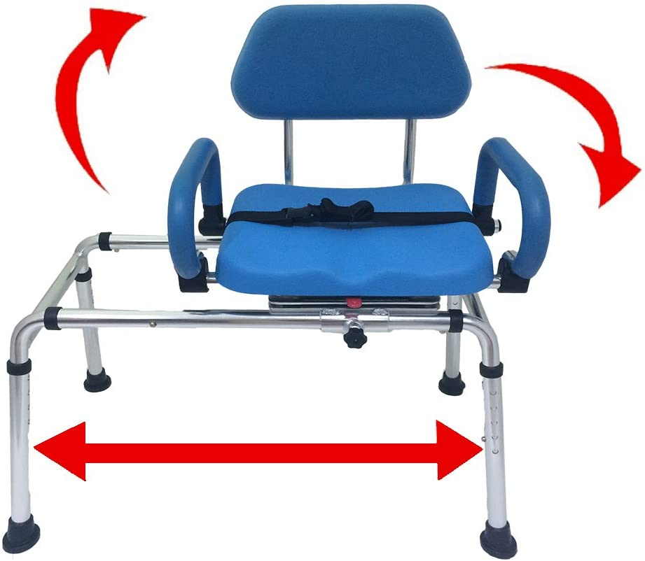 Carousel Sliding Transfer Bench With Swivel Seat Premium Padded Bath And Shower Chair With Pivoting Arms Space Saving Design For Tubs And Shower Health Personal Care
