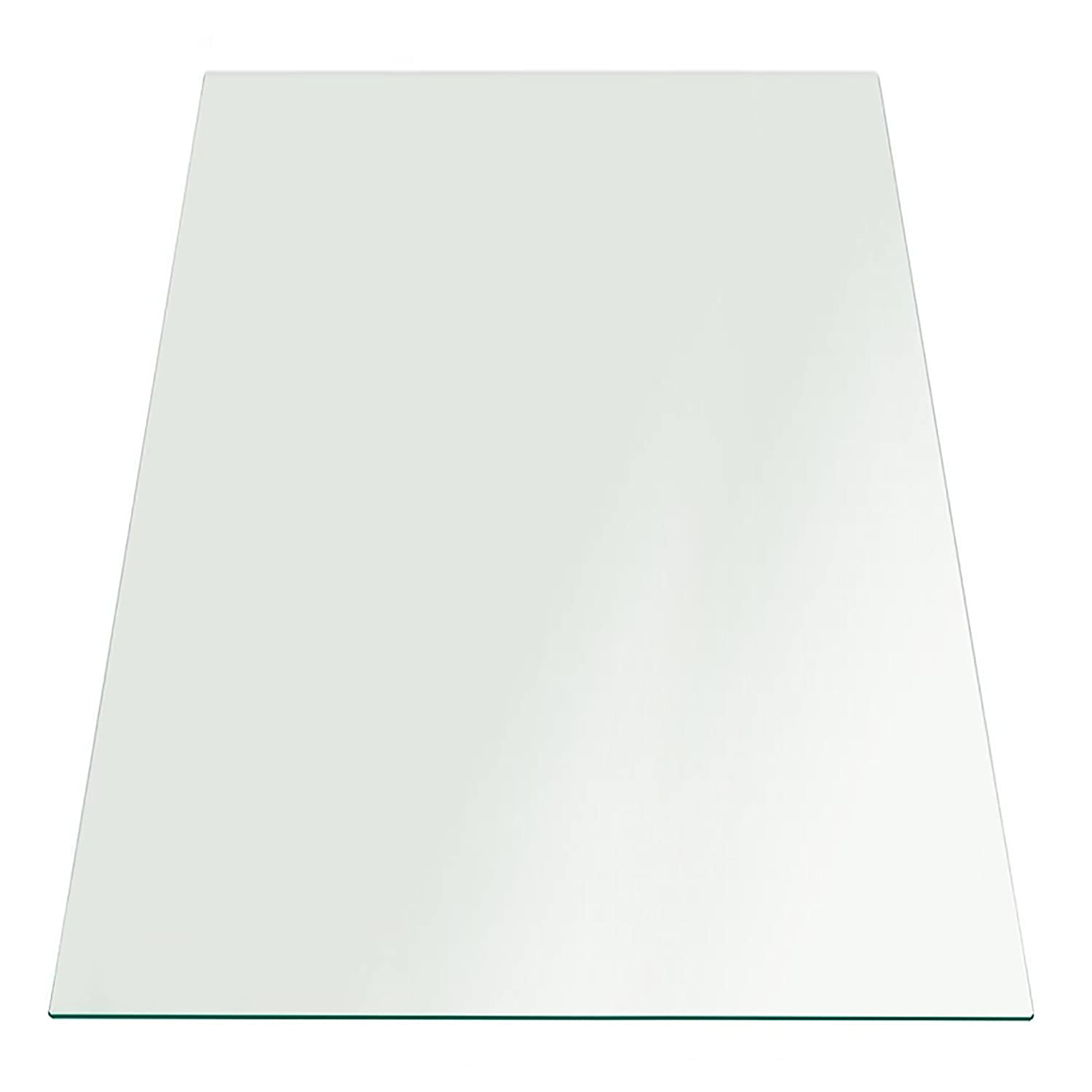 Fab Glass and Mirror 1/4 Thick Flat Edge Tempered Eased Corners Rectangle Glass Table Top, 30 X 60 30 X 60 30x60RECT6THFLTE-T