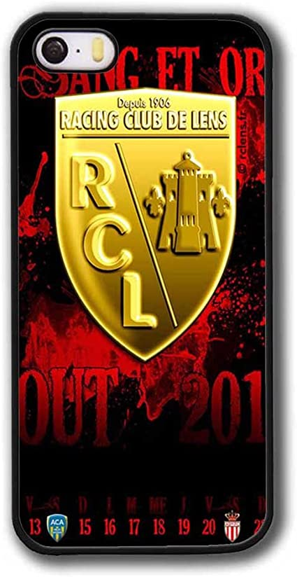Housse pour iPhone 5 5s SE Coque, RC Lens Football Logo - Ultra Mince RC Lens Back Shell Cover iPhone 5 SE Fun Fille