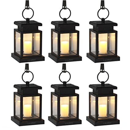 Solar Lights Outdoor Hanging Solar Lantern 6 Pack, Solar Garden Lights  Patio Landscape Yard,