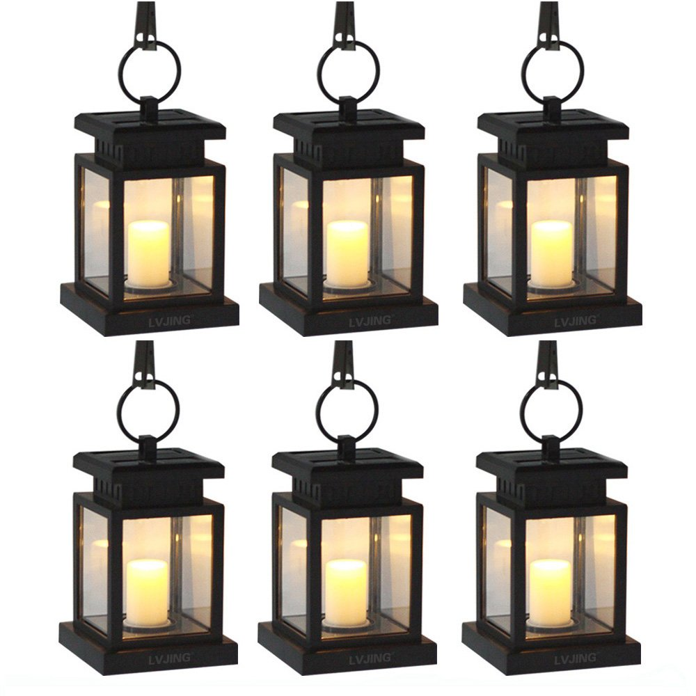 Solar Lights Outdoor Hanging Solar Lantern 6 Pack, Solar Garden Lights for Patio Landscape Yard, Warm White Candle Flicker, Auto Sensor On Off by LVJING