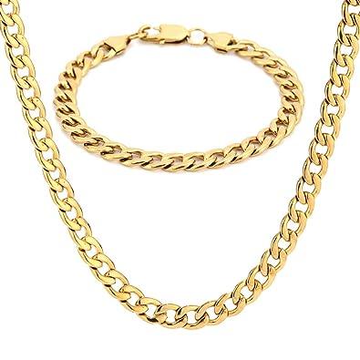 Amazon.com: SAKAIPA - Juego de collar y pulsera de acero ...