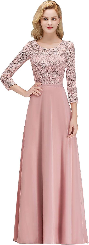 MisShow Elegante Damen Abendkleid 3/4 Langarm Kleid mit Spitzen Chiffon Waistband Rude Rosa Bodenlang Gr.32-46