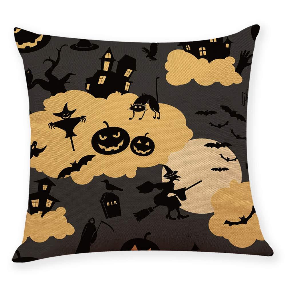 Mnyycxen Decorative Home Decor Cushion Cover Happy Halloween Throw Pillowcase Pillow Cushion Covers (G, 45 45cm)