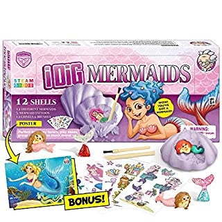 XXTOYS Mermaid Excavation Dig Kit for Kids Sea Mermaid Toys for Party Favor Supplies Science Education STEM Archaeology paleontology Gift for Girls 7 Years Old 12 Oyster Blocks Mermaid Cupcake Topper