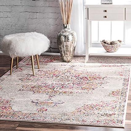 amazon com nuloom vintage persian medallion pink rug 5 x 7 5