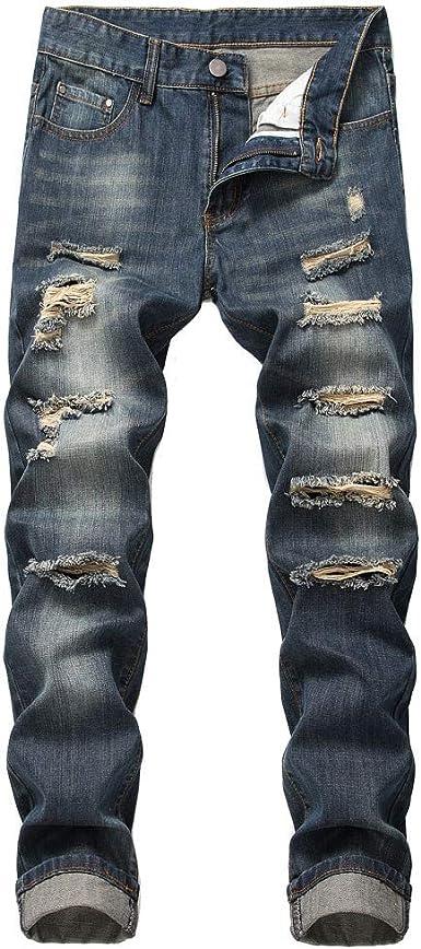Buyaole Pantalones Vaqueros Hombre Rotos Pantalones Baqueros De Hombre Moda Para Hombre Slim Fit Personalidad Casual Pantalones Vaqueros Rasgados Casuales Pantalones De Mezclilla Amazon Es Ropa Y Accesorios