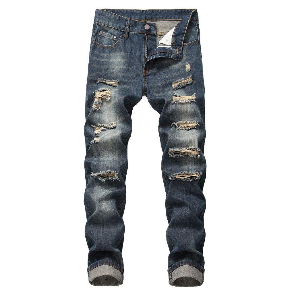 Sunmoot Clearance Sale Blue Mens Cotton Jeans with Holes,Casual Slim Straight Tearing Denim Trousers with Pockets