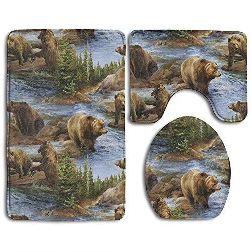 Bears Pattern Bath Mat Bathroom Carpet Rug Washable Non-Slip 3 Piece Bathroom Mat Set