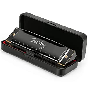 Harmonica, Souidmy Blues Harmonica 10 Holes 20 Tones, Major C, 0.8mm Plate Structure, Stainless Steel Cover, for Beginners and Kids (Black) (Color: Black, Tamaño: 4.4x1.6x1in)