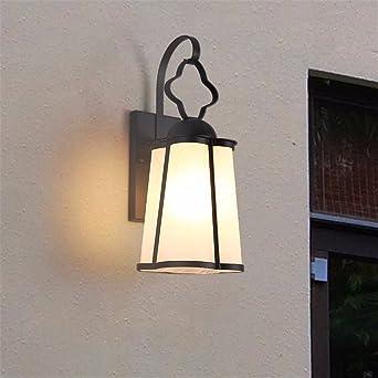 Escalera balcón lámpara de pared lámpara de pared exterior impermeable exterior pared jardín lámpara creativa retro pasillo exterior patio lámpara, pequeño negro (con 5W bombilla LED blanca cálida): Amazon.es: Iluminación