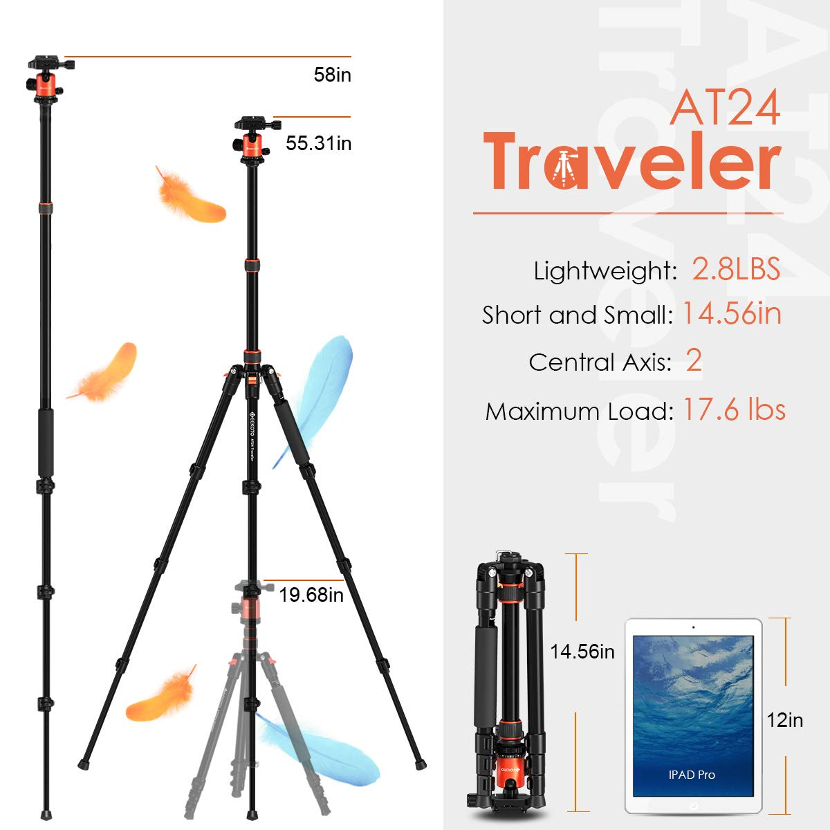 GEEKOTO 58'' Ultra Compact Lightweight Aluminum Tripod with 360° Panorama Ball Head for DSLR, Monopod, Tripod for OSMO, Ideal for Vlog, Travel and Work by GEEKOTO