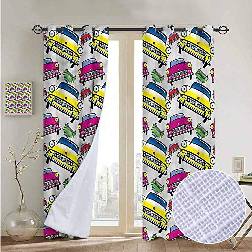 NUOMANAN Bedroom Curtain Boys Room,Classic Cars Cartoon,Insulating Room Darkening Blackout Drapes 84
