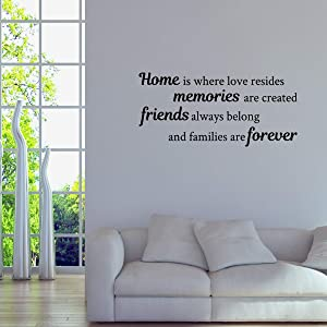 Basicor Home Wall Decal Home is Where Love Resides Families are Forever Quote Wall Sticker Y25