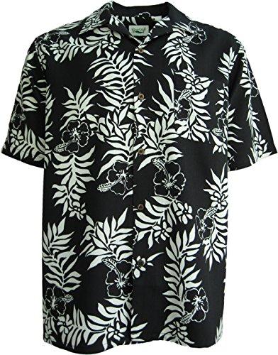 amp Shirt Black Waffle Weave Casual (XL) (Silk Hawaiian Camp Shirt)