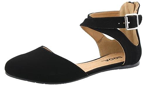 Soda Women's Kiner Darling Almond Toe Criss Cross Ankle Strap Flat (5.5 B(M