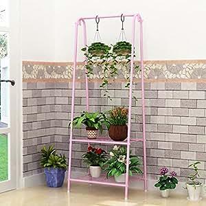 Flores soporte para balcón de hierro estantería estante colgante con varias plantas Planta Orquídea Flor Accesorio de para colgar