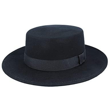 b3bdb3935e0c9 Wool Felt Wide Brim Pork Pie Hat (59cm)  Amazon.co.uk  Clothing