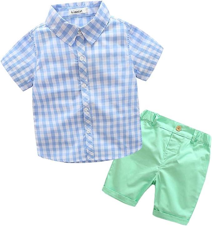 FCQNY 2 Unids Niños Camisas Pantalones Cortos Verano Conjunto Caramelo Ropa Traje A Cuadros: Amazon.es: Ropa y accesorios