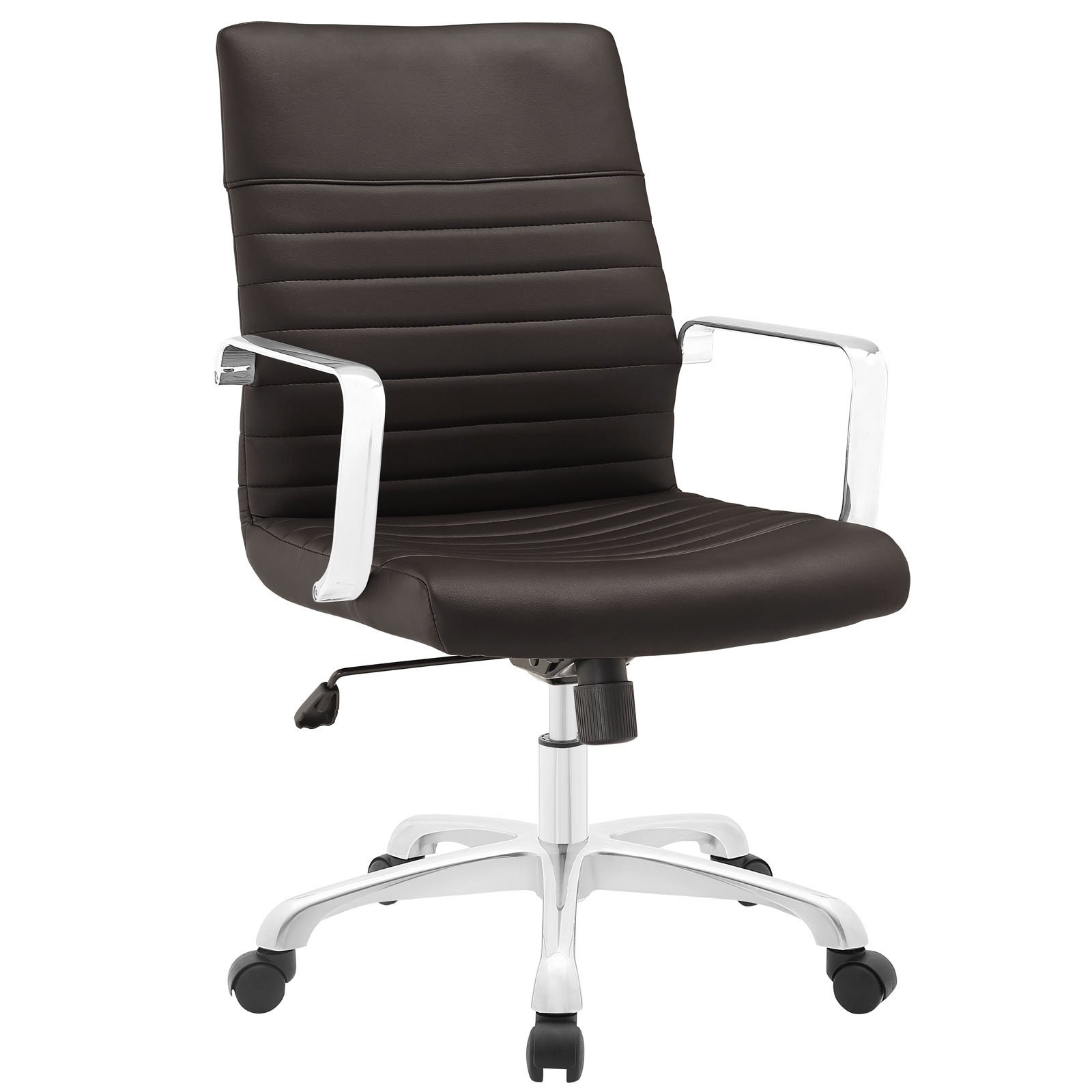 Modway Finesse Ribbed Faux Leather Mid Back Office Chair in Brown by Modway