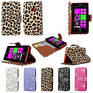Cellularvilla (Tm) Case for Nokia Lumia 521 PU Leather Wallet Card Flip Open Case Cover Pouch. (Only Fit Nokia Lumia 521) (Brown Leopard)