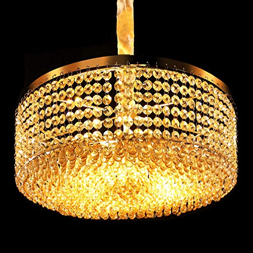 Luxurious Crystal Chandelier with Circle Shape Crystal Lighting Fixture Pendant Lighting for Dining Room Bedroom Living Room Bathroom 3 E26 LED Bulbs H5.7 in x W15.5 in Champagne Gold