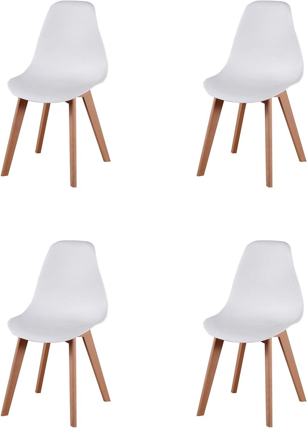 Juego de 4 sillas de Comedor Modernas de Estilo Medio Siglo de diseño nórdico, Hechas de Patas de Madera de Haya Maciza y Asiento de PP; Ideal para Sala de Estar, Comedor, cafetería, etc. (Blanco)