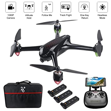ElementDigital JJRC X8 GPS Drone App Operation iOS Android FPV Drone 1080P  Camera 1-Key RTH Altitude Hold Track Flight Headless Brushless Motor,