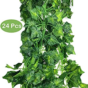 DLOnline Artificial Greenery Fake Ivy Leaves Garland Hanging for Wedding Party Garden Wall Decoration 84