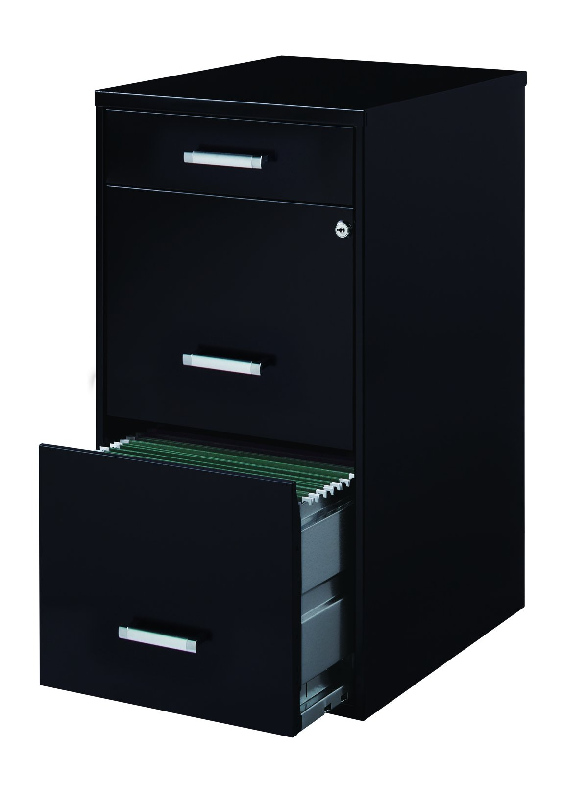 Office Dimensions 18'' Deep 3 Drawer Metal File Cabinet Organizer with Pencil Drawer, Black