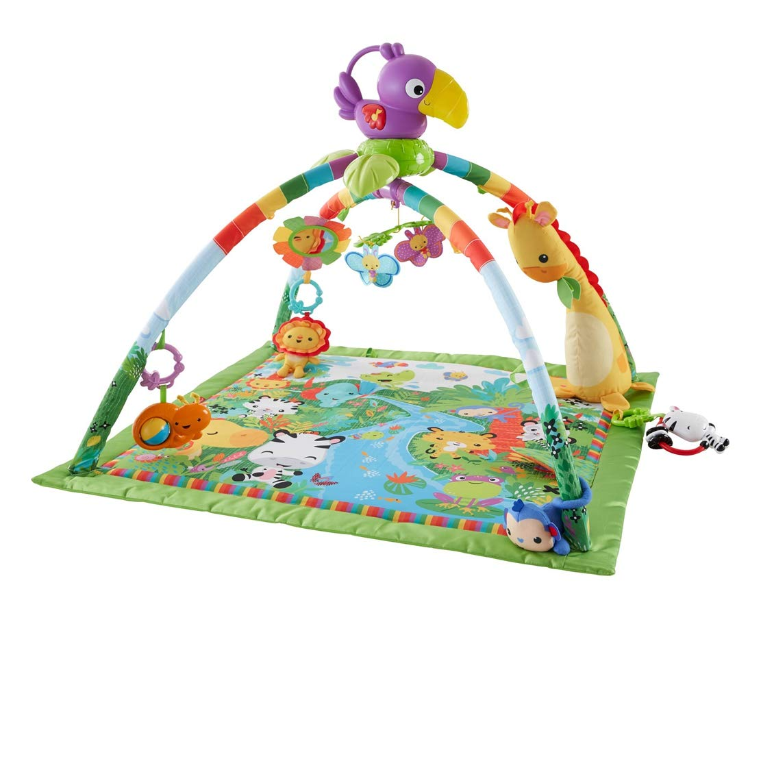 Fisher-Price DFP08 Rainforest Gym Suitable from Birth for New-Borns Baby Playmat with Music and Lights Baby