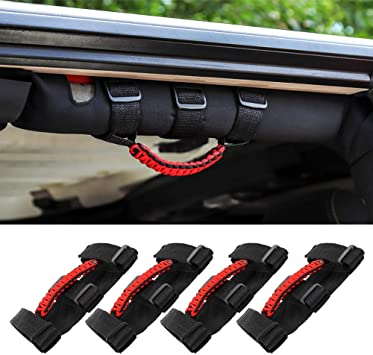 Fit For 2020 Jeep Gladiator JT Black Front/&Rear Roll Grab Handles Off Road