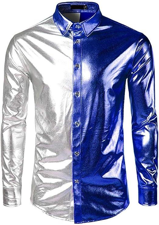 Camisas para hombre Regular Fit, Color de contraste de los hombres Metálico Brillante Club nocturno Slim