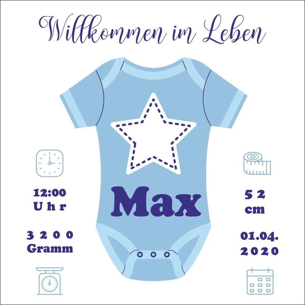 Namensgeschenk f/ür Babys personalisiert mit Geburtsdaten Holzbild 15 x 15 x 2 cm zum Hinstellen Motiv Strampler Babygeschenk f/ür Jungen als Geschenk zur Geburt GB020